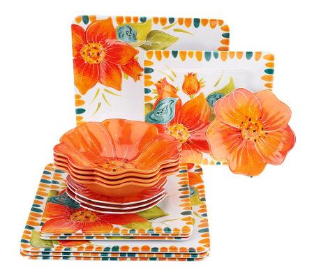 Laurie Gates Floral Embossed 16 pc Melamine Dinnerware Set