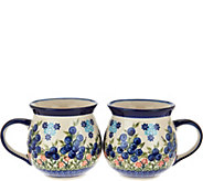 Lidias Polish Pottery Set of 2 Stoneware Bubble Mugs - H206130
