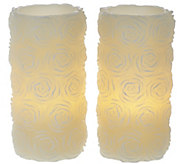 Set of 2 7 1/4 Embossed Rose Flameless Candles by Valerie - H208130