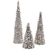As Is Set of 3 Glittering Ice Graduated Decorative Trees - H208230
