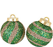 Kringle Express Indoor/Outdoor S/2 8 Striped Sequined Ornaments - H211530