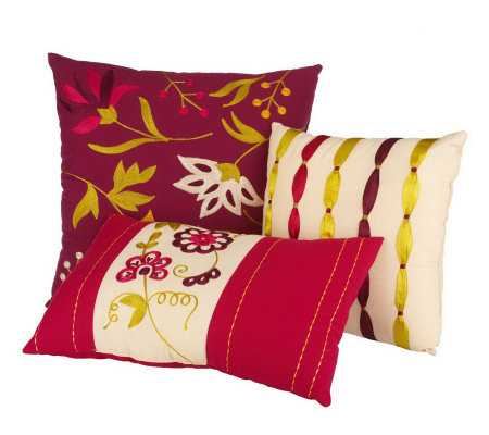 Choice of Bloom or Elegance Set of 3 Decorative Accent Pillows - H167631 ? QVC.com