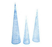 As Is Kringle Express Set/3 Battery Op. Fabric Swirl Tower Tree - H204931