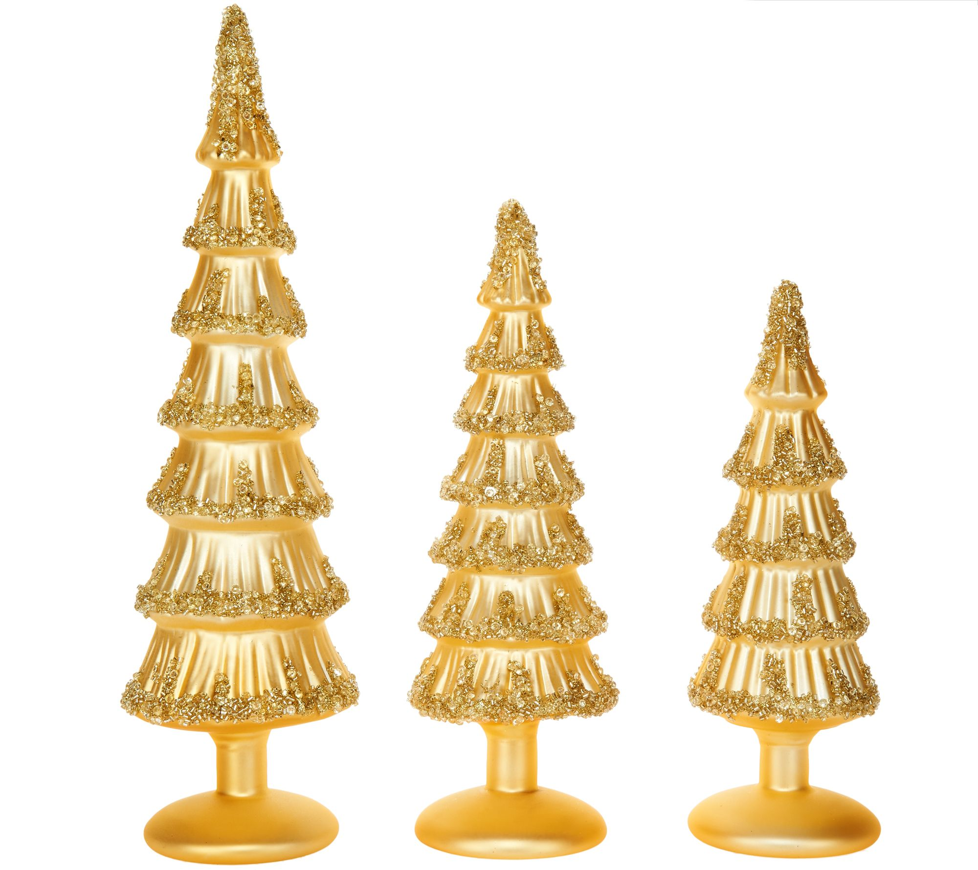 Glass christmas tree with ornaments miniature - Set Of 3 Glass Trees With Beaded Accents By Valerie H209131