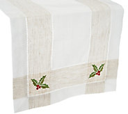 As Is Charles Gallen 54x14 Table Runner w/ Embroidery - H209531
