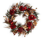 21 Velvet Rose, Berry, and Pinecone Wreath - H209931