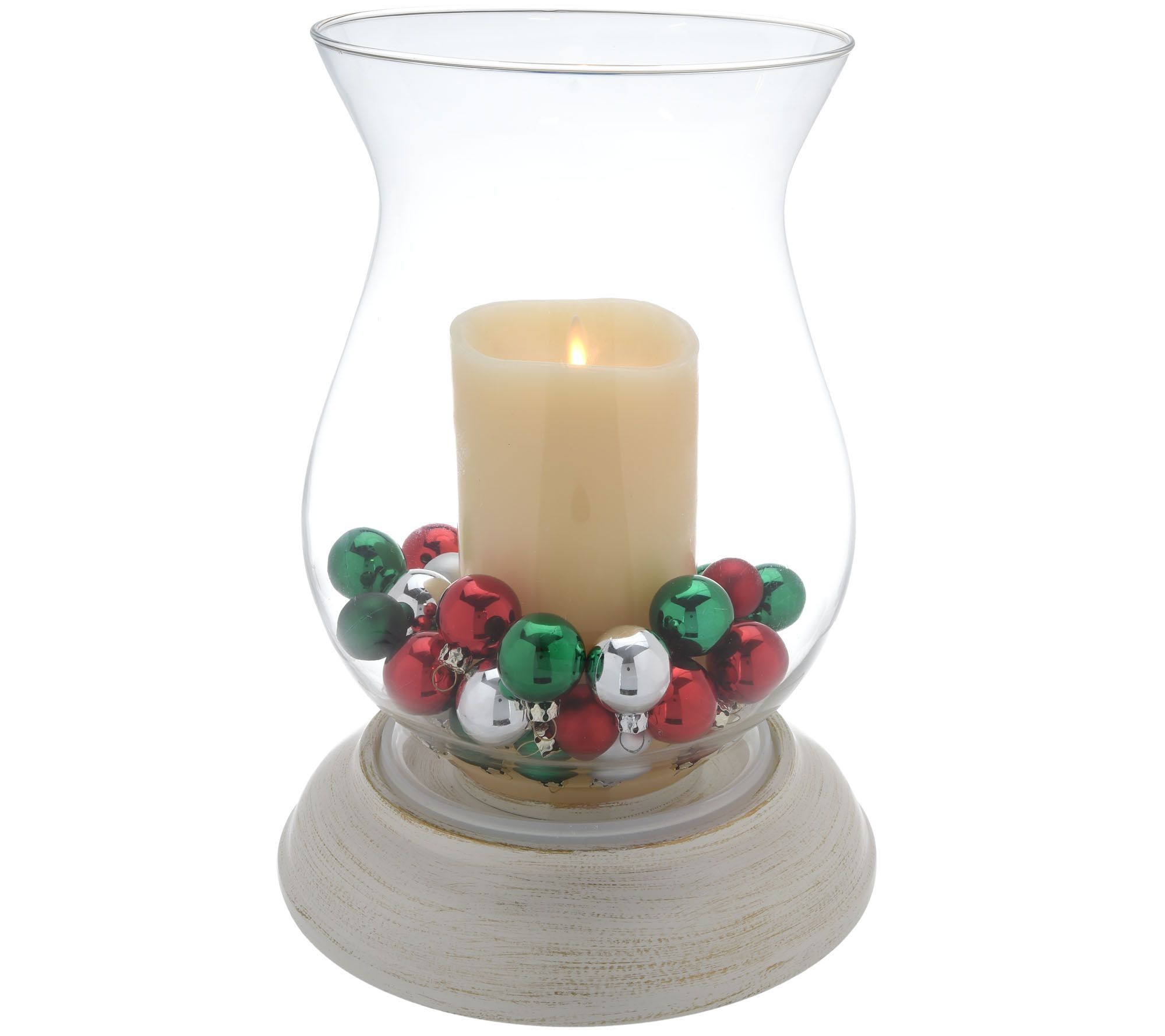 Candles christmas holiday for the home qvc luminara hurricane with flameless candle and two seasonal fills h213031 reviewsmspy