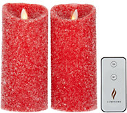 Luminara Set of 2 6 Sugared Pillar Candles with Remote - H214831