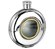 5oz Glass Window Stainless Steel and Goldtone Round Flask - H348731