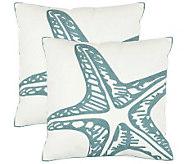 Safavieh Set of 2 18x18 Whitney Starfish Applique Pillows - H360631