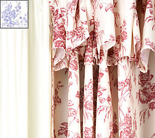 Hookless Double Swag French Toile Shower Curtain With Liner