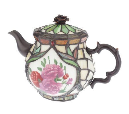 "Tiffany Style Hand Painted Rose Design 7"" Tea Pot Lamp"
