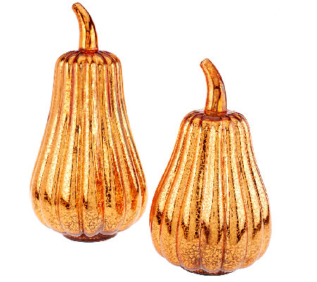 Set Of 2 Mercury Glass Gourds With Timer H203733 Qvc Com