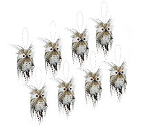"Set of 8 3"" Snowy Owl Feathered Ornaments - H203833"