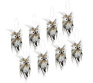 Set of 8 3 Snowy Owl Feathered Ornaments - H203833