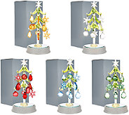 Kringle Express Set of 5 Glass Trees with Ornaments in Gift Boxes - H205633