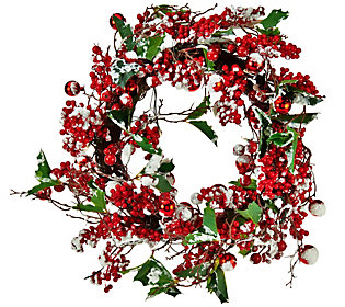Lit Red Berry, Snow and Holly Wreath or Garland by Valerie