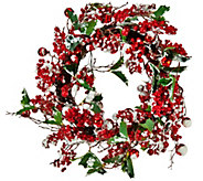 Lit Red Berry, Snow and Holly Wreath or Garland by Valerie - H206133
