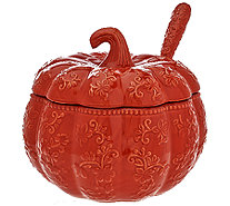 Temp-tations Floral Lace 4 qt. Embossed Pumpkin Tureen w/ Ladle - H206233