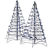 As Is S/2 Pre-Lit LED 3 Fold Flat Outdoor Christmas Trees - H208333