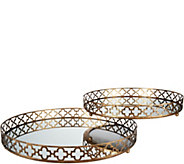 Quatrefoil 14 and 16 Mirrored Tray Set - H210933