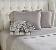 Malden Mills Set of Two Polarfleece Print and Solid Queen Sheet Set - H212633
