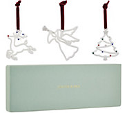 Judith Ripka Silvertone Set of Three Holiday Ornaments - H212733