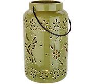 10.5 Ceramic Illuminated Hummingbird Pierced Lantern by Valerie - H213533