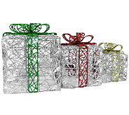 Set of 3 LED Gift Boxes Spun Glitter Wireframeby Brite Star - H282733