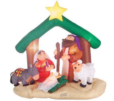 6' Inflatable Nativity Scene with Lights and 11 Christmas Songs
