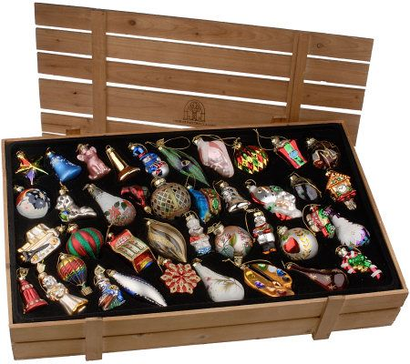 Thomas Pacconi 40-piece Blown Glass Ornaments with Wooden ...
