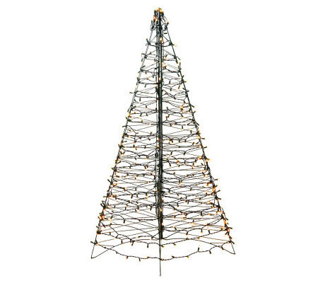 Pre-Lit Fold Flat Outdoor Christmas Tree by Lori Greiner