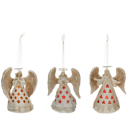 Set Of 3 Illuminated Angel Ornaments By Home Reflections