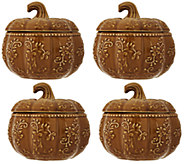 Temp-tations Floral Lace S/ 4 12 oz. Pumpkin Soup Bowls - H206234