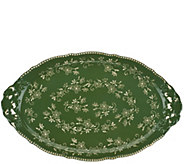 As Is Temp-tations 18 Floral Lace Holiday Platter w/ Handles - H208534