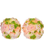 Set of 2 Illuminated Rose Wax Spheres by Valerie - H210534