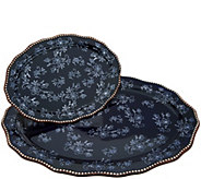 As Is Temp-tations Floral Lace Set of 2 Serving Platters - H215134