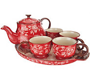 As Is Temp-tations Floral Lace 6pc Tea Set w/ Deep Dish Lid It - H209035