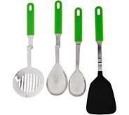 As Is Set of 4 Silicone No Mess Cooking Utensils by Lori Greiner - H209535