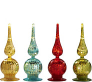 As Is Kringle Express S/4 Mini Lit Mercury Glass Finials - H214335