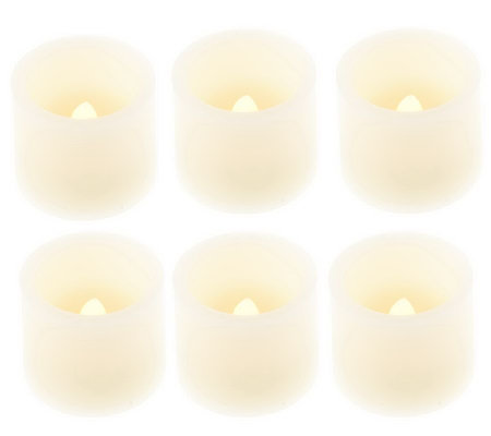 Set of 6 Flameless Votive Candles with Timers