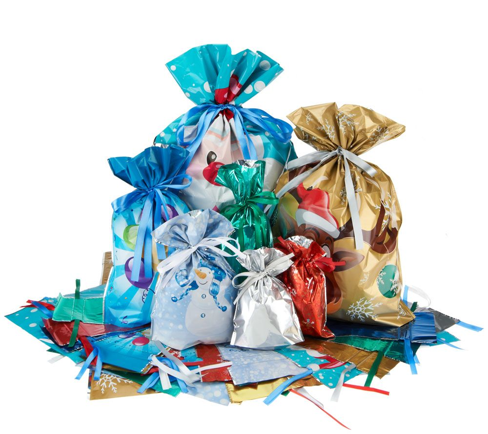 Kringle express 72 piece e z drawstring holiday gift bag set kringle express 72 piece e z drawstring holiday gift bag set page 1 qvc negle Choice Image