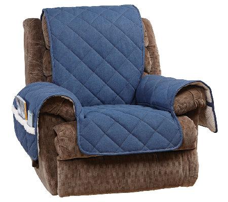 Fit reversible denim to sherpa recliner furniture cover qvc com
