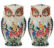 Lidias Polish Pottery Stoneware_Owl Salt & Pepper Shakers - H206236