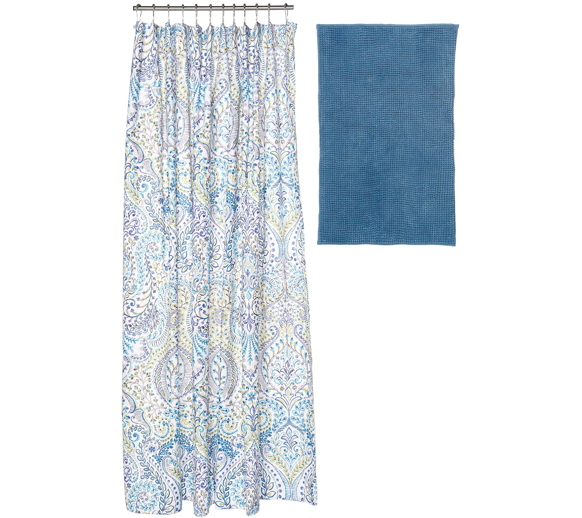 modern bath set with bath rug shower curtain and twelve hooks page 1 u2014 qvccom