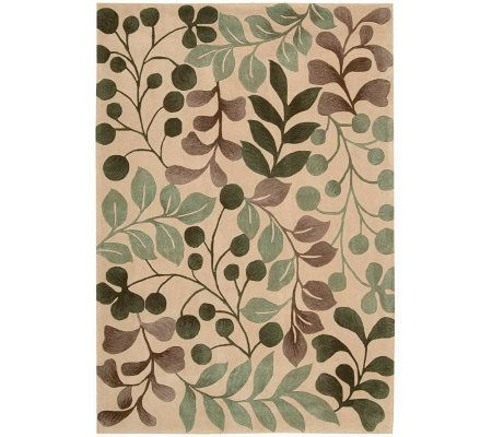 "Handtufted 3'6"" x 5'6"" Graphic Leaves Rug by Valerie - H350036"