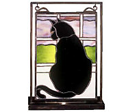 Tiffany Style Cat Mini Window Panel and Display - H123537