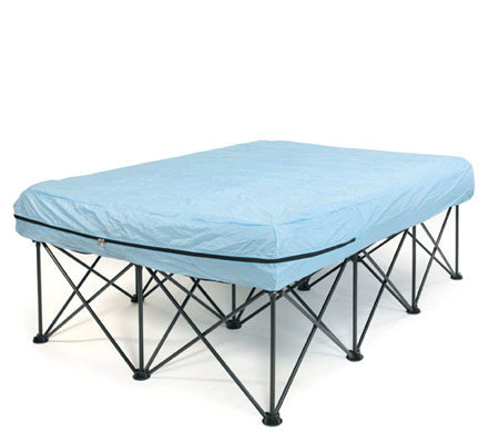 Queen portable bed frame for air filled mattresses with for Futon portatil