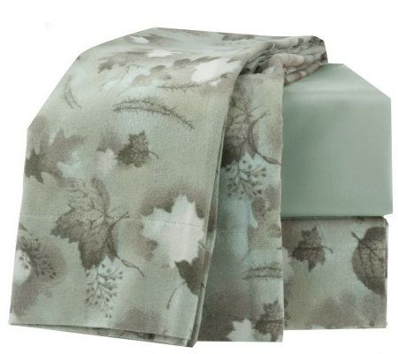 northern nights falling leaves 100 cotton queen flannel. Black Bedroom Furniture Sets. Home Design Ideas
