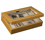 Mele & Co. Logan Glass Top Watch Box in Bamboo - H188137